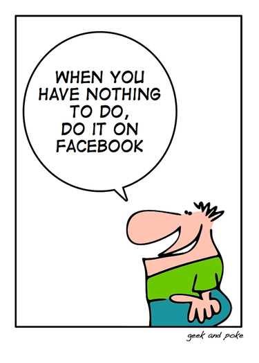 a geek and poke cartoon lampooning facebook